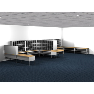 Mail Room Furniture and Office Organizer 504 Pocket Letter Depth Mailing System with Sorters and Tables Complete!