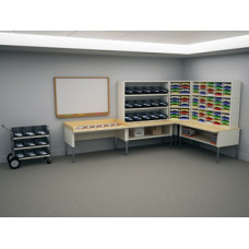 """Charnstrom's Compact """"L"""" shaped Mailroom Console or Office Organizer with Mail Processing Tables, 84 Adjustable Sorting Pockets and 15 Presort Bins"""
