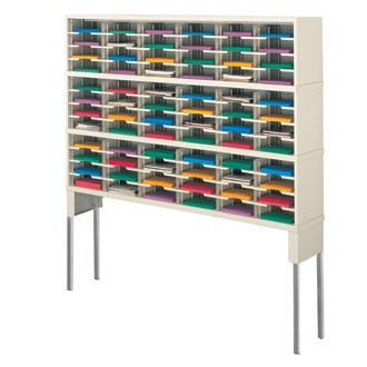 """Mail Room Furniture and Office Organizer 72""""W x 12-3/4""""D, 72 Mail Pocket Sorter with Tall Riser"""