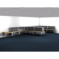 Mail Room Furniture and Office Organizer 504 Pocket Legal Depth Mailing System with Sorters and Tables Complete!