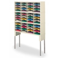 "Mail Room Furniture and Office Organizer 48""W x 12-3/4""D, 48 Pocket Sorter with 11-1/2""W Shelves and Riser"