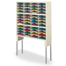 "Mail Room Furniture and Office Organizer 48""W x 15-3/4""D, 48 Pocket Sorter with 11-1/2""W Shelves and Riser"