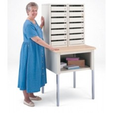 Mail Room Furniture Side By Side Double Mail Security Station, 14 Doors with Combination Locks