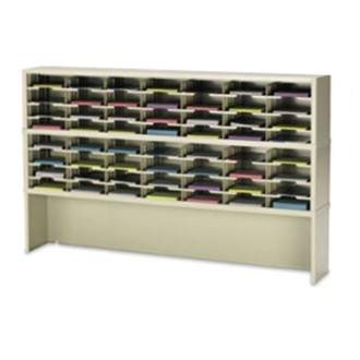 "Mail Room Furniture and Office Organizer 72""W x 15-3/4""D, 56 Pocket Sorter with 9-1/2""W Shelves and Enclosed Riser"
