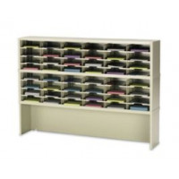 "Mail Room Furniture and Office Console 60""W x 15-3/4""D, 48 Pocket Sorter with 9-1/2""W Pockets with Enclosed Riser"