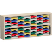 "Mail Room Sorter and Office Organizer 72""W x 15-3/4""D, 56 Pocket Sorter with 9-1/2""W Mail Sorting Shelves"