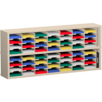 "Mail Sorter and Office Organizer 72""W x 12-3/4""D, 56 Pocket Mail Sorter with 9-1/2""W Shelves"