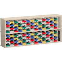 """Mail Room Sorter and Office Organizer 72""""W x 12-3/4""""D, 104 Pocket Sorter with 5""""W Mail Sorting Shelves"""