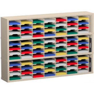"Mail Sorter and Office Organizer 72""W x 12-3/4""D, 84 Pocket Sorter with 9-1/2""W Mail Sorting Shelves"