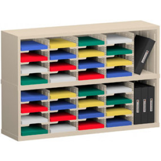 """Office Organizer and Mail Room Sorter 48""""W x 15-3/4""""D, 32 Pocket Sorter with 9-1/2""""W Mail Sorting Shelves"""
