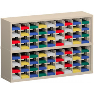 """Mail Room Sorter and Office Organizer 48""""W x 12-3/4""""D, 72 Pocket Sorter with 5""""W Mail Sorting Shelves"""
