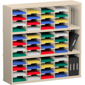 """Office Organizer and Mail Room Sorter 48""""W x 15-3/4""""D, 48 Pocket Sorter with 9-1/2""""W Mail Sorting Shelves"""