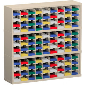 "Mail Room Sorter and Office Organizer 48""W x 12-3/4""D, 108 Pocket Sorter with 5""W Mail Sorting Shelves"