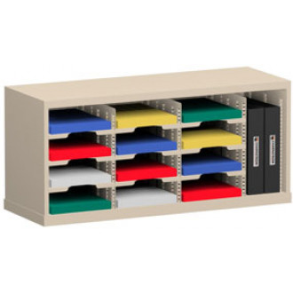 """Office Organizer and Mail Room Sorter 36""""W x 12-3/4""""D, 12 Pocket Sorter with 9-1/2""""W Mail Sorting Shelves"""