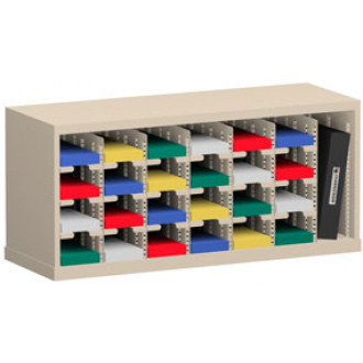 """Mail Sorter and Office Organizer 36""""W x 12-3/4""""D, 24 Pocket Sorter with 5""""W Mail Sorting Shelves"""