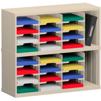 "Mail Sorter and Office Organizer 36""W x 15-3/4""D, 24 Pocket Sorter with 9-1/2""W Mail Sorter Shelves"