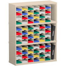 """Mail Room Sorter and Office Organizer 36""""W x 12-3/4""""D, 72 Pocket Sorter with 5""""W Mail Sorting Shelves"""