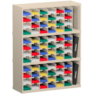"Mail Room Sorter and Office Organizer 36""W x 12-3/4""D, 72 Pocket Sorter with 5""W Mail Sorting Shelves"
