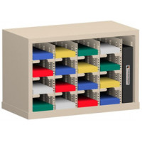 """Office Organizer and Mail Room Sorter 25""""W x 12-3/4""""D, 16 Pocket Sorter with 5""""W Mail Sorting Shelves"""