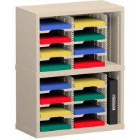 "Mailroom Sorter and Office Organizer 25""W x 15-3/4""D, 16 Pocket Mail Sorter with 9-1/2""W Adjustable Sorting Shelves"