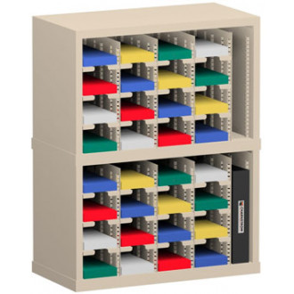 """Office Organizer and Mail Room Sorter 25""""W x 12-3/4""""D, 32 Pocket Sorter with 5""""W Mail Sorter Shelves"""