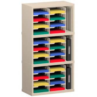 "Office Organizer and Mail Room Sorter 25""W x 12-3/4""D, 24 Pocket Sorter with 9-1/2""W Mail Sorting Shelves"