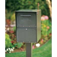 Mail Room and Office Mail Products Locking Curbside Mailbox with Pedestal - Small Capacity