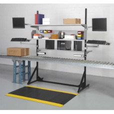 "Conveyor Packing Station with Duel Monitor Brackets 59""W and Adjustable Shelves"