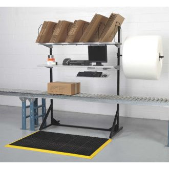 "Packing Station and Manifest Console Above Conveyor with 24"" Bubble Pack Bracket  59""W"