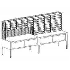 """Mail Room Furniture 120""""W, 60 Pocket Wire Sorting Station with Storage Tables, Complete! Letter Depth - FREE Quantity Shipping!"""