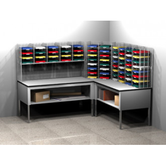 Mail Room Furniture and Office Organizer Wire Mail Sorter System, 68 Pockets, Legal Depth Shelf