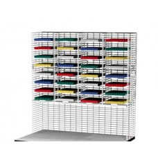 """Mail Room Furniture 48""""W x 12""""D, 32 Pocket Wire Mail Sorter with Enclosed Riser - Letter Depth"""