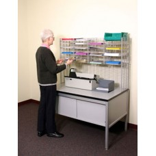 """Mail Room Furniture 48""""W x 12""""D, 16 Pocket Wire Mail Sorter with Enclosed Riser - Table Sold Separately"""