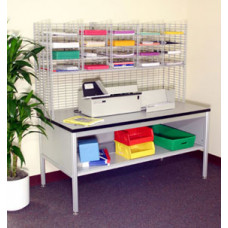 "Mail Room Furniture and Office Organizers 60""W x 12""D, 20 Pocket Wire Mail Sorter with Enclosed Riser (Table Sold Separately)"