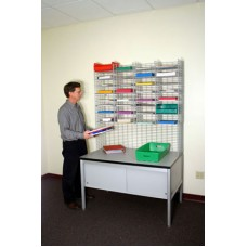 """Mail Room Sorters and Office Organizers 48""""W x 15""""D, 32 Pocket Wire Mail Sorter with Enclosed Riser - Table is Sold Separately"""