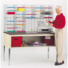 "Mail Room Sorters and Office Organizers 60""W x 15""D, 28 Pocket Wire Sorter with Riser, Legal Depth (Table sold separately, below)"