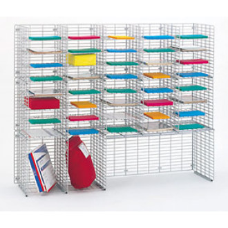 "Mail Room Sorters and Office Organizers 60""W x 15""D, Wire Organizer with 42 Mail Sorting Pockets, Legal Depth"