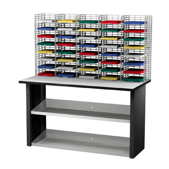 "Mail Room Sorters and Office Organizers  40 Pocket Wire Mail Sorter, Letter Depth 12""D and Economy Table"