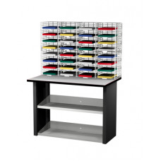 "Mail Room Furniture and Office Organizers 32 Pocket Wire Mail Sorter, Legal Depth 15""D and Economy Table"