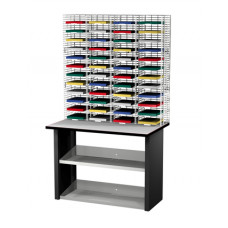 "Mail Room Consoles and Office Organizers 48 Pocket Wire Mail Sorter, Legal Depth 15""D and Economy Table"