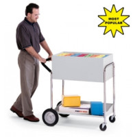 "Medium Solid Metal Mail Delivery Cart with 10"" Rear Tires"