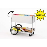 "Mail Room and Office Carts Long Solid Metal Mail Distribution Cart with 16"" Rear Tires and Cushioned Ergo Handle"