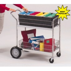 Mail Room Supplies Medium Wire Basket Mail Cart or Office Distribution Cart