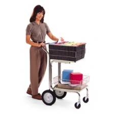 Mail Room Furniture and Supplies Compact Wire Basket Mail Distribution Cart