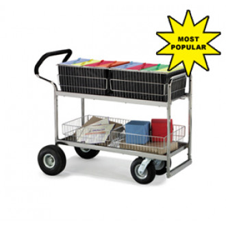 Mail Room and Office Carts Wire-Basket Mail Cart With Ergonomic Designed Handle and Choice of Casters