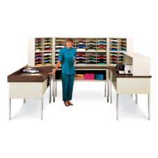 Charnstrom Mail Room Furniture Extra-Deep U-Shaped Mail Center - 72 Mail Pockets (Letter Depth)