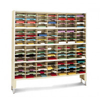 "Mail Room Console and Office Organizer 72""W x 12-3/4""D, 112 Pocket Sorter with Riser and 9-1/2""W Shelves"