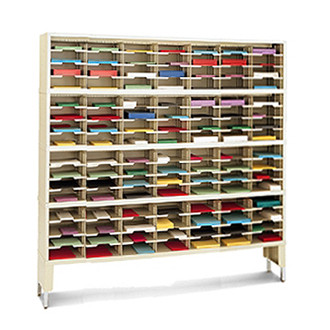 """Office Organizer and Mail Room Sorter 72""""W x 15-3/4""""D, 112 Pocket Sorter with Riser and 9-1/2""""W Shelves"""
