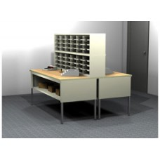 Charnstrom's Mail Room Console or Office Organizer 48 Pocket Legal Depth Open Back Mailroom Furniture Station (Sorter and Tables Complete!)