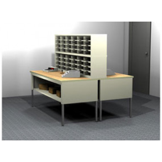 Mail Room Console or Office Organizer 48 Pocket Letter Depth Open Back Mailroom Furniture Station (Sorter and Tables Complete!)